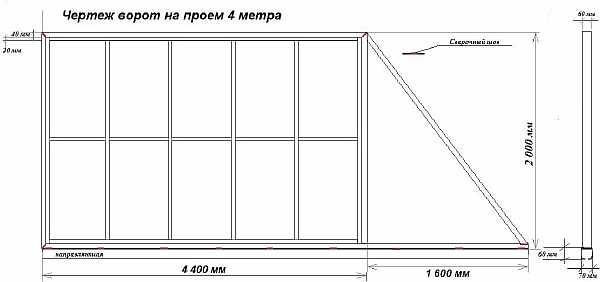 Схема с размерами ворот